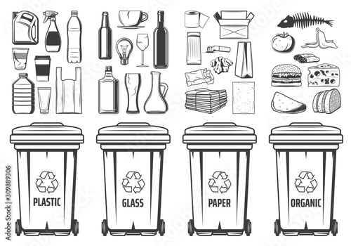 Obraz Trash recycling bins icons, plastic, glass or paper and organic wastes PET symbols. Vector recycle bin containers with food wastes and reusable litter, garbage segregation and environment conservation - fototapety do salonu