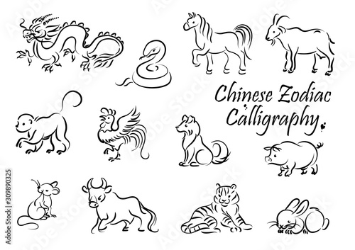 Zodiac animal vector icons of Chinese horoscope New Year symbols Wallpaper Mural