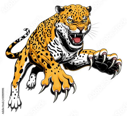 Photographie Leaping jaguar