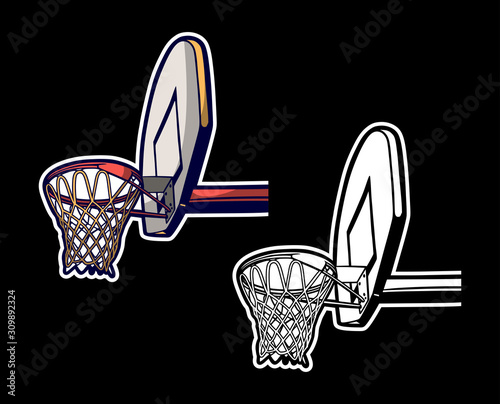 Fotografiet Vintage retro illustration of basketball hoop colored and black white