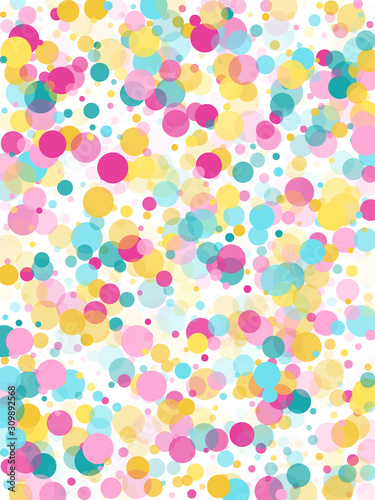 Obraz na plátně Memphis round confetti festive background in cyan blue, pink and yellow
