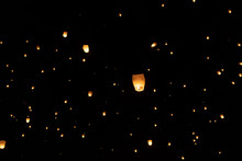 Floating Paper Lanterns At Night