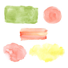 Watercolor Colorful Speech Bubbles, Frames Set. Green, Yellow, Red Isolated On White Background