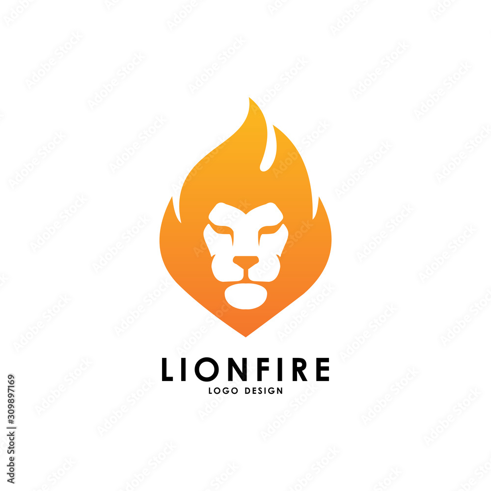 Fototapeta lion fire logo vector template