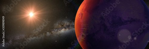 Fototapeta planet Mars with Sun and Milky Way galaxy, sunrise on the red planet obraz