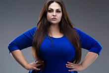 Plus Size Model In Blue Dress, Fat Woman With Long Hair On Gray Background, Body Positive Concept