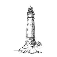 Lighthouse. Vector Sketch. Ancient Architecture. Cape Chersonesos, Crimea.