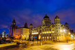 View of the historical buildings at the waterfront of Liverpool, England, UK