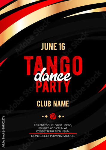 Vertical tango dance party template with black background, color graphic elements and text Wallpaper Mural