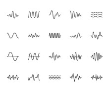 Sound Waves Flat Line Icons Se...