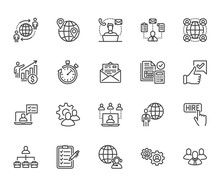 Outsource Flat Line Icons Set....