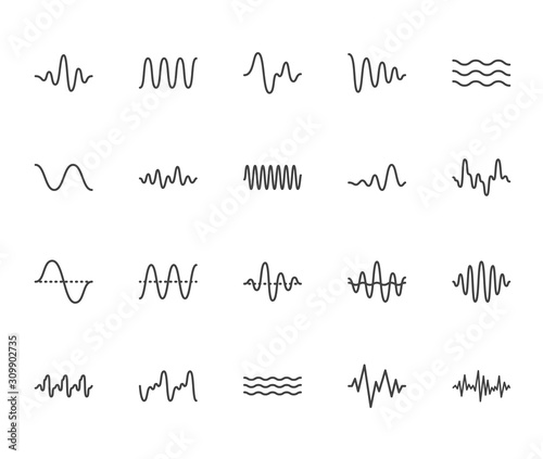 Sound waves flat line icons set Wallpaper Mural