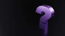 Purple Metallic Question Mark On Black Reflective Background Marks. 3d Illustration Design