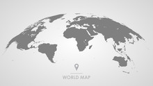 3d Silhouette Of A Global World Map, Sphere With Continents And Islands Of The World Monochrome Vector Illustration
