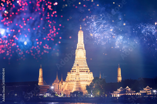 Wat Arun temple in bangkok with fireworks Canvas Print