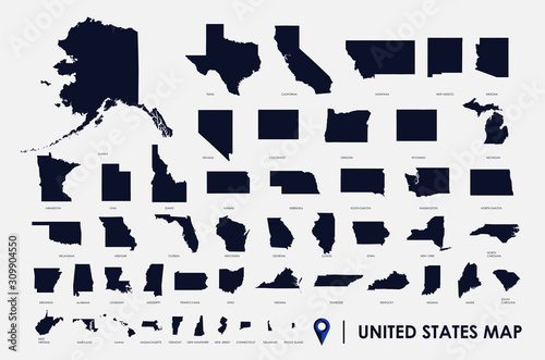 Obraz na płótnie United States of America infographic, USA state maps by territory area, detailed