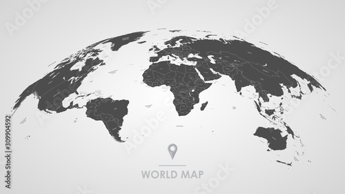 Obraz Detailed global world map, with borders and names of countries, seas and oceans, vector illustration - fototapety do salonu