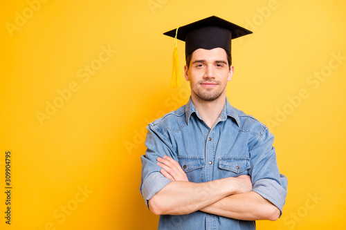 Obraz na płótnie Photo of confident serious worker having graduated from universite able to do al