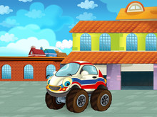 Cartoon Scene With Car Vehicle...