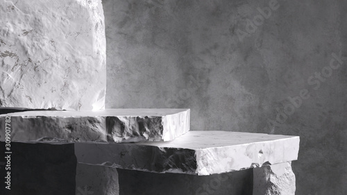 Foto Product setting podium rough stone slabs, marble counter concrete wall and stone