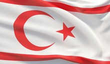 Waving National Flag Of Northern Cyprus. Waved Highly Detailed Close-up 3D Render.