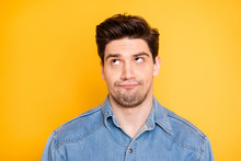 Close Up Photo Of Man Bothered With Listening To Advice Of His Friends Rolling His Eyes Isolated Vibrant Color Background