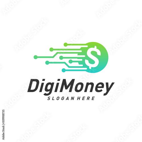 Digital money logo design concept vector, Simple Money Technology logo template, Icon Symbol, Creative design Wall mural