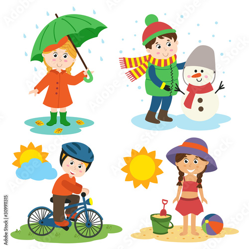 Fotomural children and the four seasons  - vector illustration, eps
