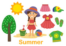 Isolated Summer  Set With Girl, Tree And Clothes - Vector Illustration, Eps