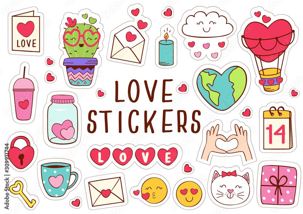 Fototapeta set of isolated love stickers part 1 - vector illustration, eps