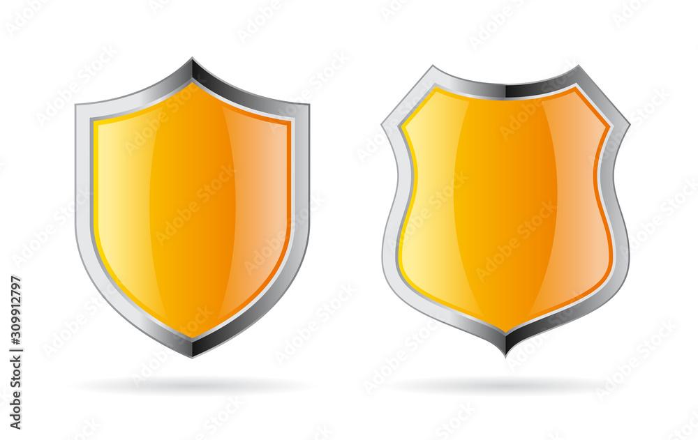 Fototapeta Yellow shield vector icon set