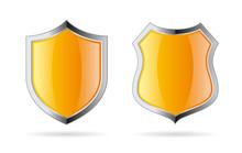 Yellow Shield Vector Icon Set