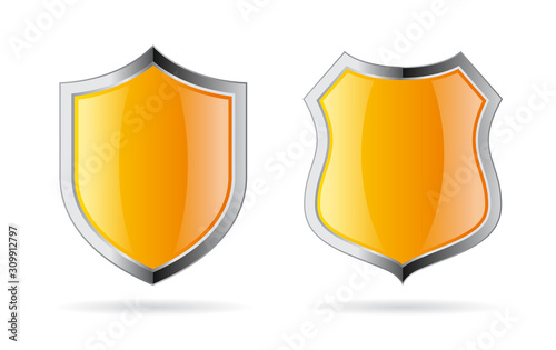 Obraz na plátně Yellow shield vector icon set