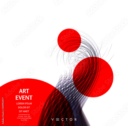 Abstract art in Japanese style. Curved lines with perspective effect. Optical fiber. 3d abstract background. Vector illustration.