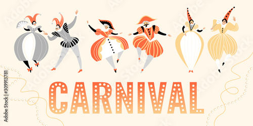 Fototapeta Carnival banner with funny characters in traditional  Italian costumes and headdresses. obraz