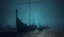Vikings Ships In The Blue Deep...
