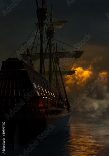 Photo Spanish Galleon In The Night
