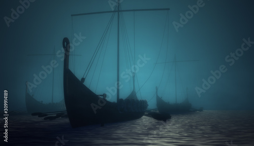 Vikings ships in the blue deep fog Canvas Print