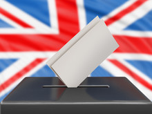 Ballot Box With British Flag On Background