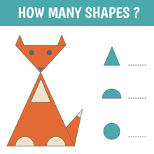 Educational Game For Kids. Geometrical Figure Fox. Count How Many Geometric Shapes In The Picture. Preschool Worksheet Activity. Vector Illustration