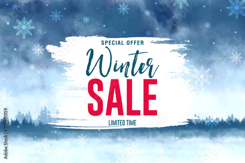 Winter sale banner, vector illustration Canvas Print