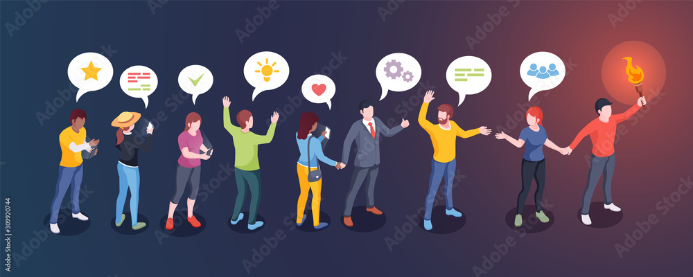 Fototapeta Social audience influence, opinion leader and influencer, vector creative design. Man with torch lead people followers, social media community and internet marketing concept
