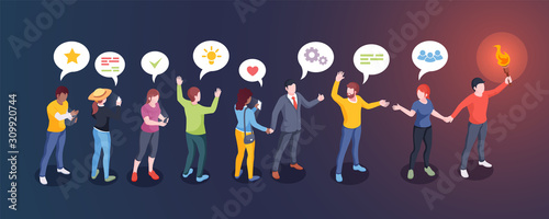 Obraz Social audience influence, opinion leader and influencer, vector creative design. Man with torch lead people followers, social media community and internet marketing concept - fototapety do salonu