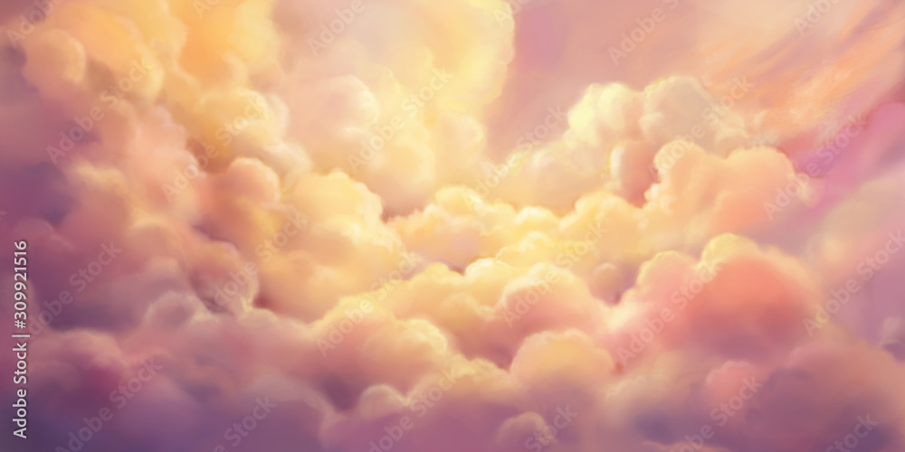 Fototapeta The Cloud Sea. Natural Sky Backdrop. Concept Art. Realistic Illustration. Video Game Digital CG Artwork Background. Nature Scenery.