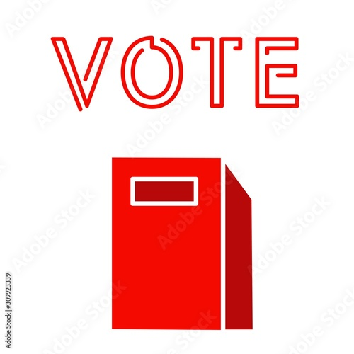 Red voting booth election president debate impeachment flat style vector illustr Tablou Canvas
