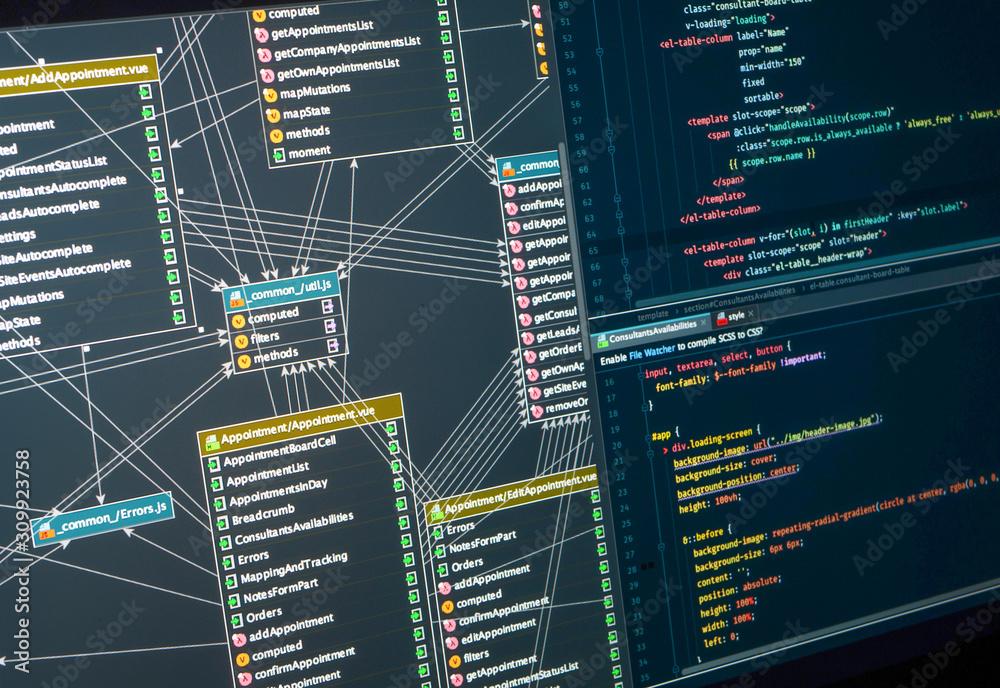 Fototapeta Back-end project architecture development. Database diagram, markup. Integrated Development Environment