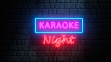 Brick Wall At Night With Neon Sign Karaoke Night. Advertising Bright Night Karaoke Bar, Party, Disco Bar, Night Club, Live Music Show. Live Music