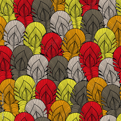 Fotomural  Vector feather pattern in grey, yellow, red, white