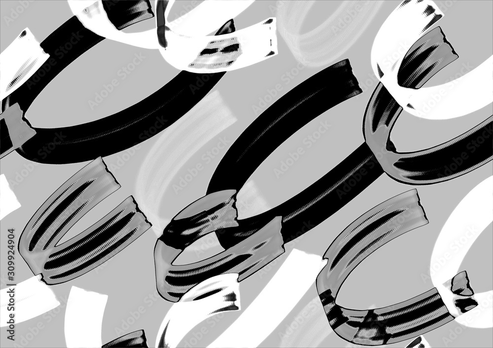 Fototapeta Seamless pattern with black and white,  line design background