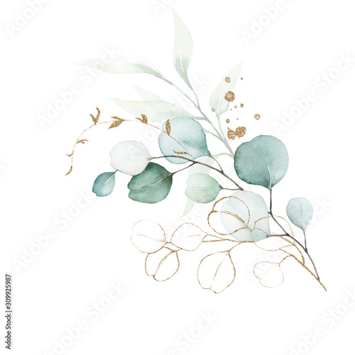 Obraz Watercolor floral illustration bouquet - green & gold leaf branches collection, for wedding stationary, greetings, wallpapers, fashion, background. Eucalyptus, olive, green leaves, etc. - fototapety do salonu